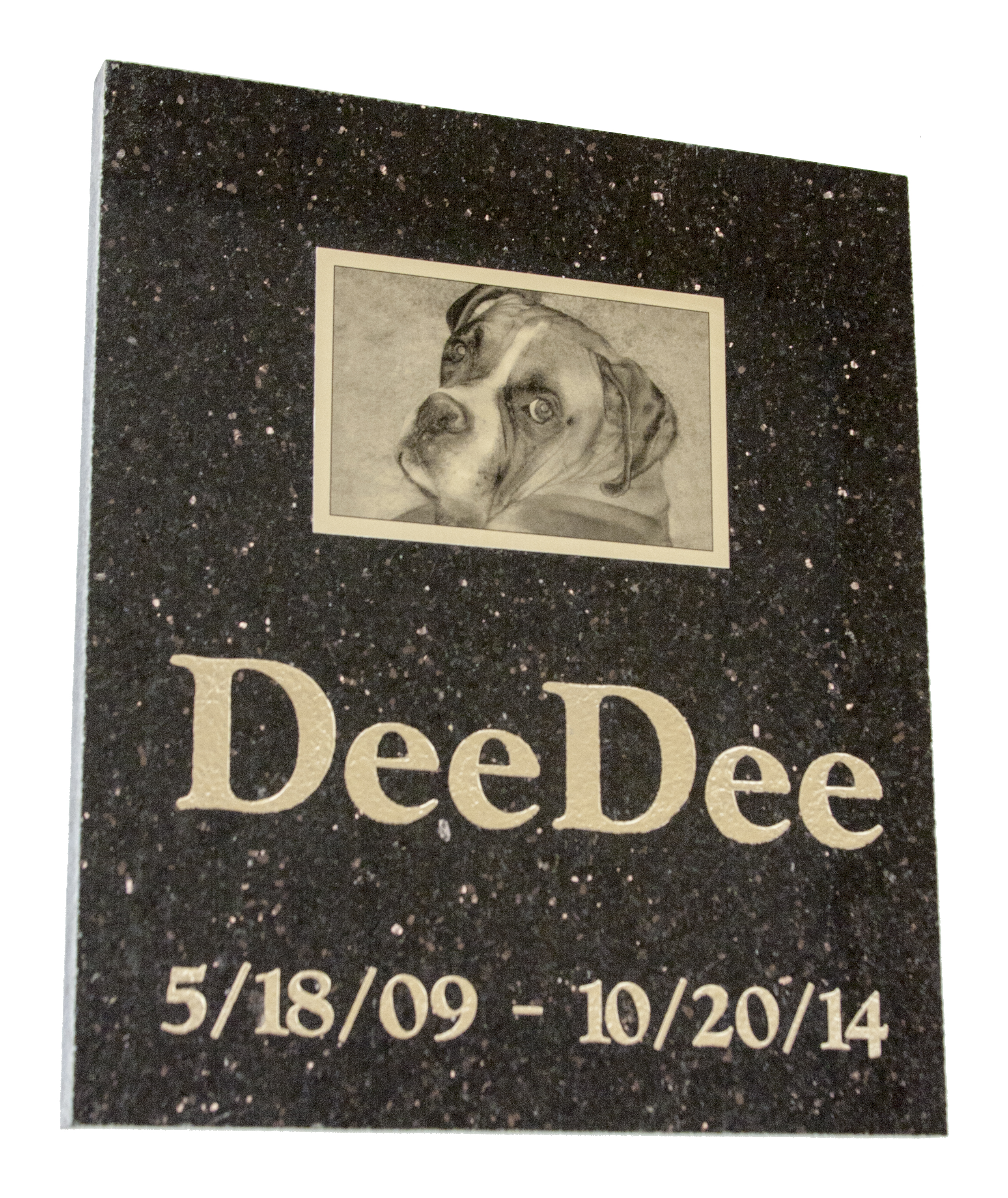 Granite Burial Marker w/ gold aluminum tile