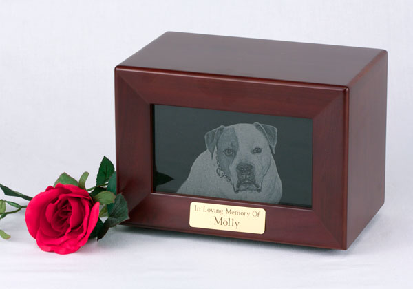 Framed Marble Photo Urn - Walnut