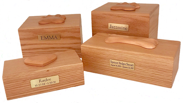 Oak Box w/ Engraved Plate and Ornament