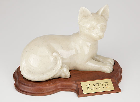 Faithful Feline Urn (With Base) - Laying